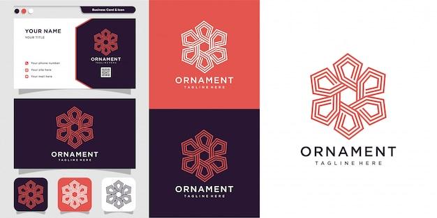 Logo ornament z koncepcją konspektu i szablonem projektu wizytówki, konspekt, grafika liniowa, ornament, ikona