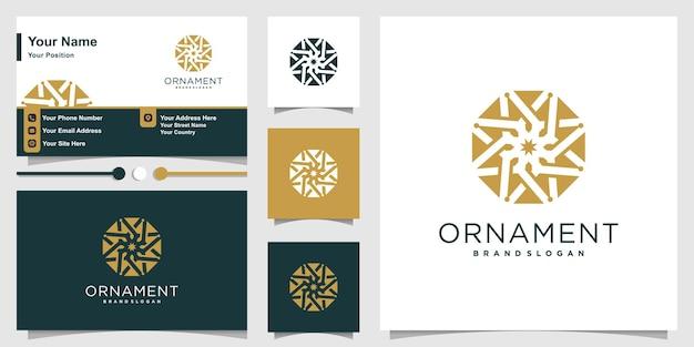 Logo ornamentu z nowoczesną koncepcją kreatywną i szablonem projektu wizytówki