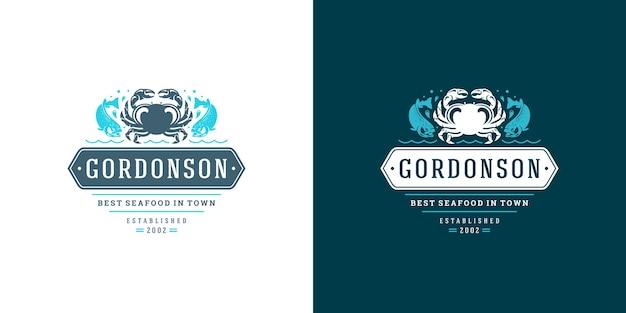 Logo owoców morza lub znak targu rybnego i szablon godła restauracji