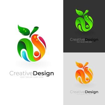 Logo owoców z kolorowym szablonem, ikona stylu 3d