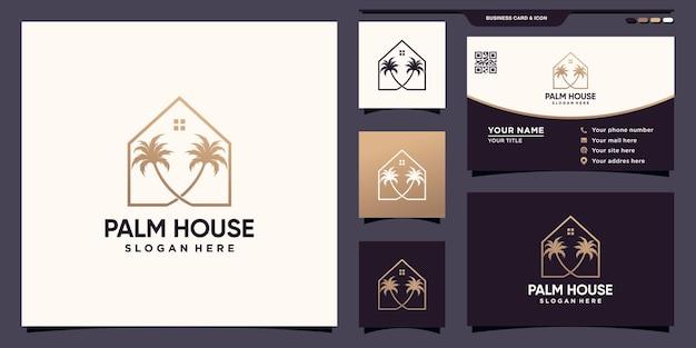 Logo palmy i domu z unikalnym stylem liniowym i projektem wizytówek premium wektor