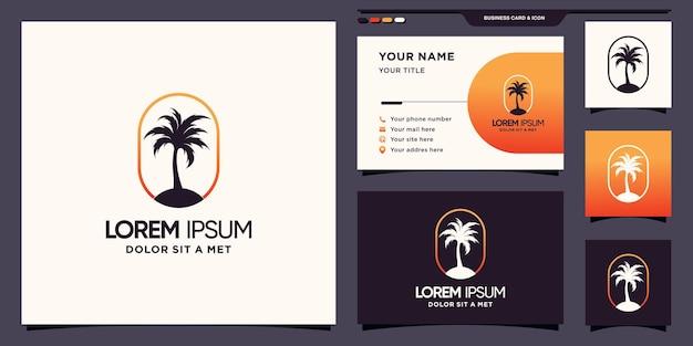 Logo palmy z nowoczesną koncepcją i projektem wizytówek