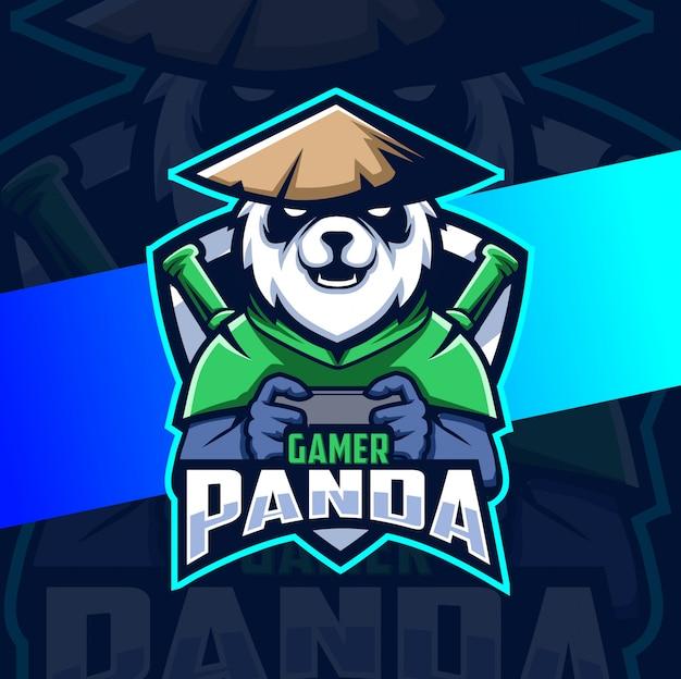 Logo panda gamer maskotka esport