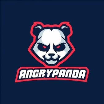 Logo panda maskotka gra sportowa panda
