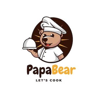 Logo papa bear prosty styl maskotki.