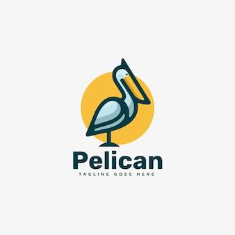 Logo pelikan prosty styl maskotki.