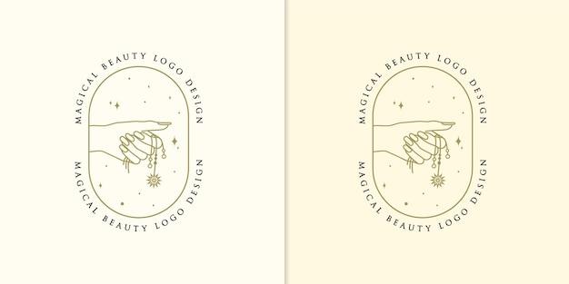 Logo piękna boho z kobiecą zawieszką na dłoni hand