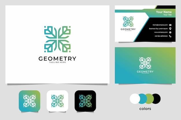 Logo piękna geometria i wizytówka. dobre wykorzystanie do logo mody, jogi i spa