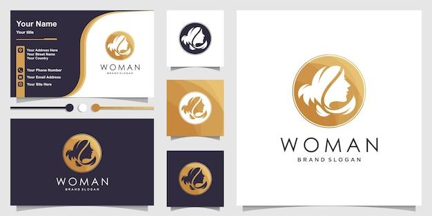 Logo piękna kobieta z kreatywną unikalną koncepcją premium wektorów