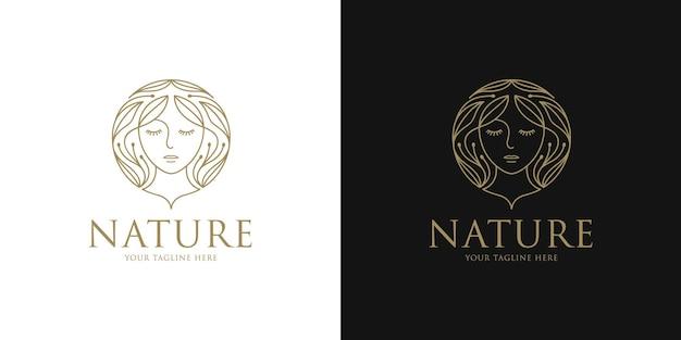 Logo piękna kobieta z kwiatowym wzorem we włosach