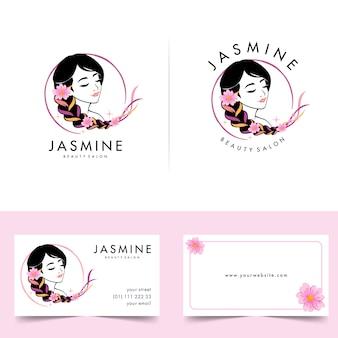 Logo piękna kobieta z projektami wizytówek