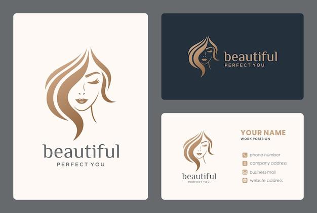 Logo piękna włosów dla salonu, makijażu, stylisty włosów, fryzjera, strzyżenia włosów.