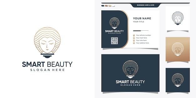 Logo piękna ze stylem sztuki linii i koncepcją lampy żarówkowej. logo inteligentnego piękna dla kobiety i projektowania wizytówek