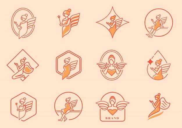 Logo pięknego anioła z zestawem skrzydeł