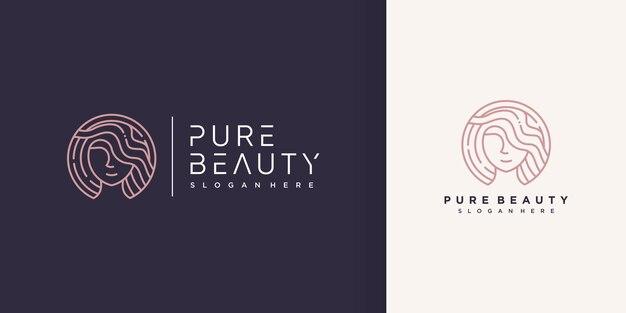 Logo piękno kobiety z kreatywnym stylem linii premium wektorów część 2