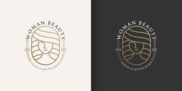 Logo piękno kobiety ze złotym kreatywnym stylem linii premium wektorów część 1