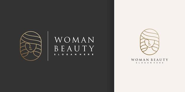 Logo piękno kobiety ze złotym kreatywnym stylem linii premium wektorów część 2