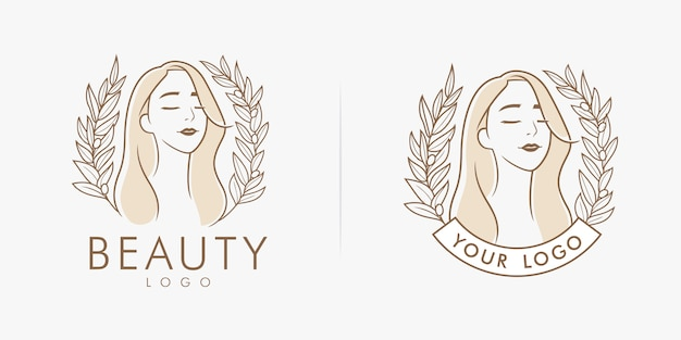 Logo piękności kwiatowy kobiecy salon