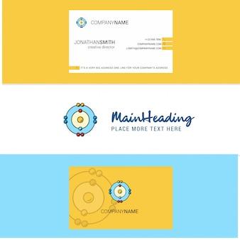 Logo pięknych atomów i wizytówki. pionowy