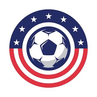 Logo piłki nożnej w stylu płaski piłka nożna gry sportowe