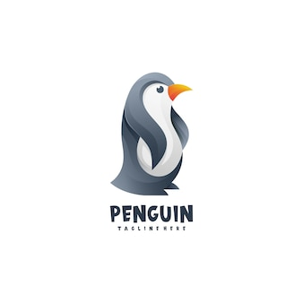 Logo pingwina w stylu gradientu