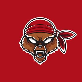 Logo piraci grizzly head szablon