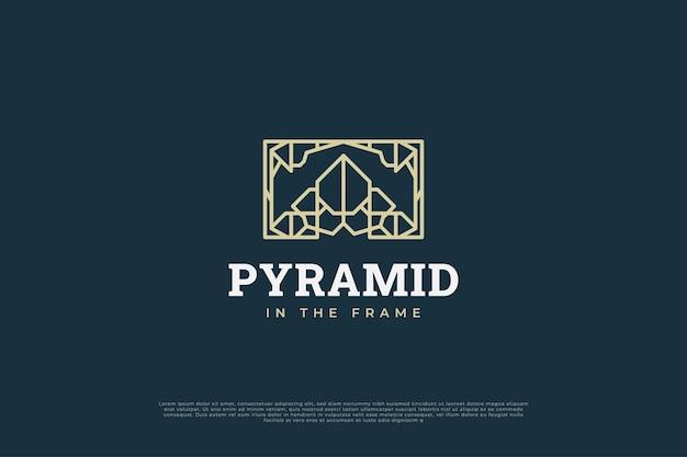 Logo piramidy w ramce ze stylem linii i abstrakcyjną koncepcją tożsamości twojej firmy