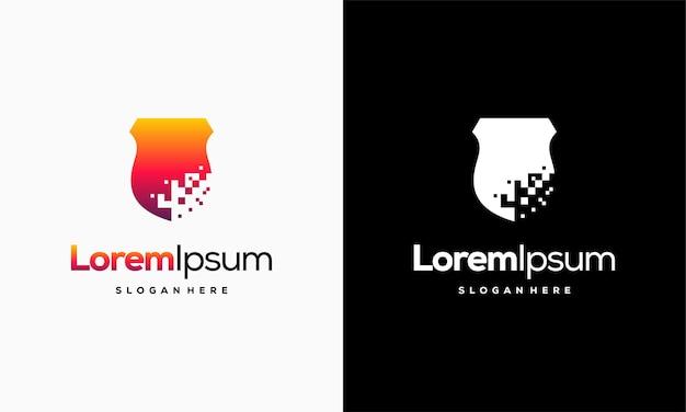 Logo pixel shield projektuje wektor koncepcyjny, szablon logo elegant technology secure