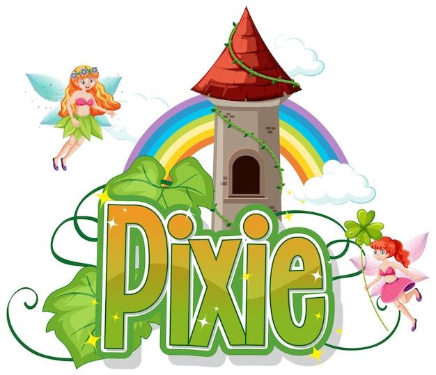 Logo pixie z małą wróżką na białym tle