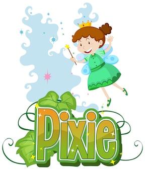 Logo pixie z małymi wróżkami na białym tle
