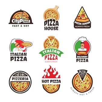 Logo pizzerii. włoska pizza składniki restauracja gotować trattoria lunch kolorowe etykiety lub odznaki