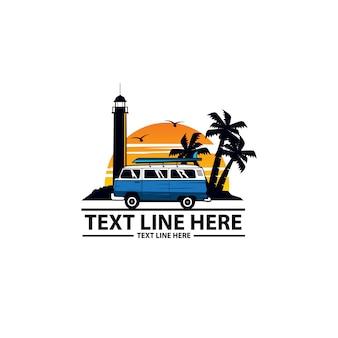 Logo plaży i niebieskiej furgonetki