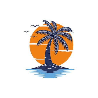 Logo plaży sunset summer