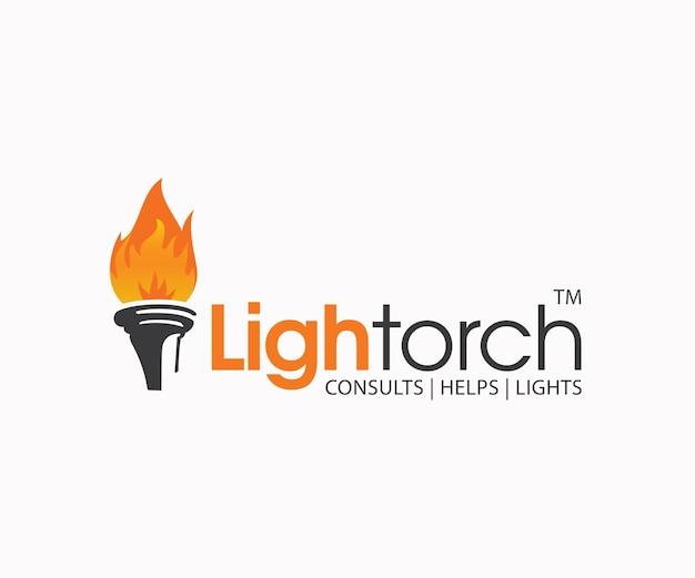 Logo płomień światła latarki
