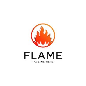 Logo płomień z literą koła o