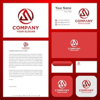 Logo początkowa litera s łączy się z trójkątem w wizytówce premium logo wektor premium
