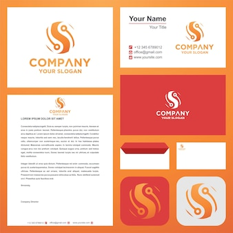 Logo początkowa litera s na wizytówce premium wektor logo premium