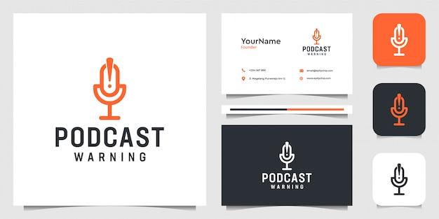 Logo podcastu. dobry do przesyłania strumieniowego, mikrofonu, firmy, firmy i wizytówki
