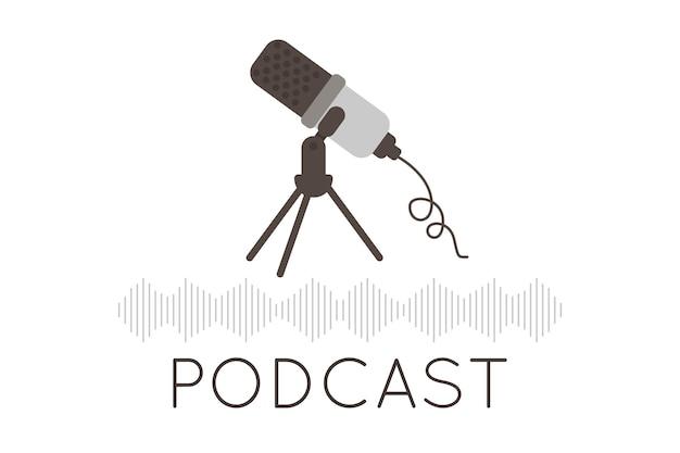 Logo podcastu. ikona mikrofonu i obraz dźwiękowy. ikona radia podcast. mikrofon studyjny do webcastu, nagrywania podcastu audio lub programu online. koncepcja nagrywania dźwięku. ilustracja wektorowa.