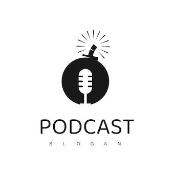 Logo podcastu, słynny projekt ikony podcastu z symbolem bomby