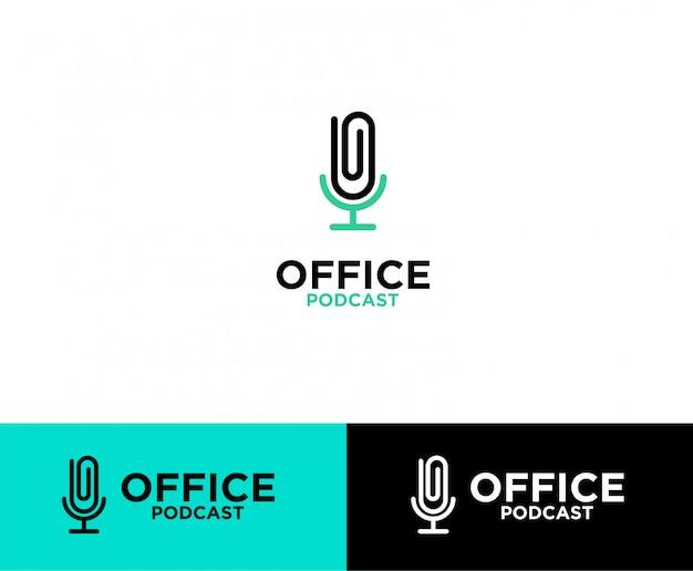 Logo podcastu z klipsem biurowym