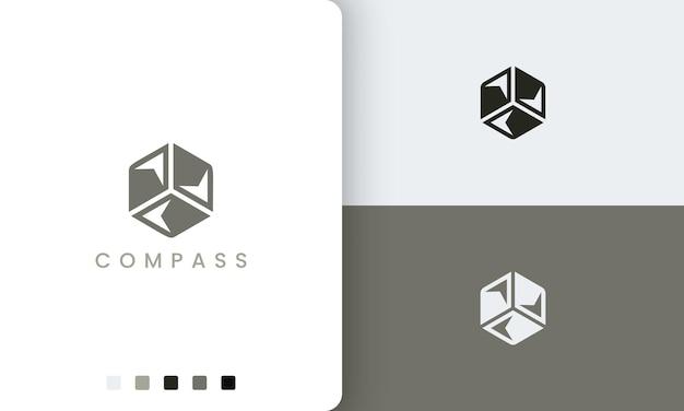 Logo podróży lub przygody z prostym i nowoczesnym kształtem sześciokątnym kompasu