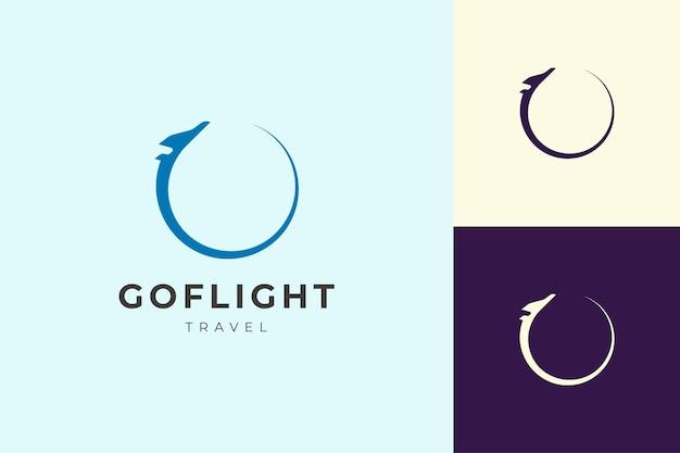 Logo podróży lub samolotu w prostym i czystym kształcie
