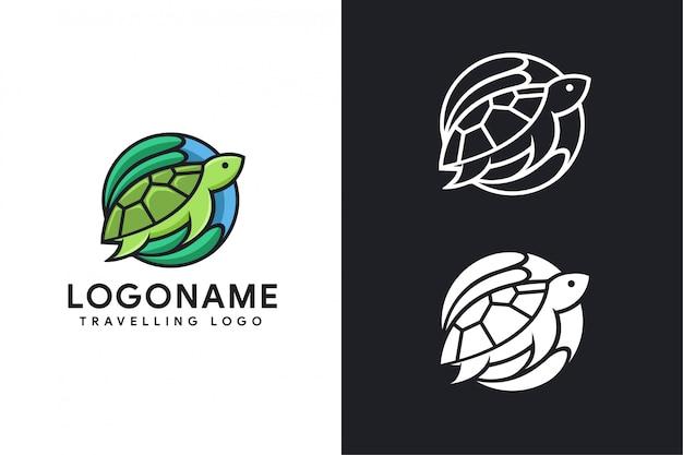 Logo podróży żółwia i wizytówki
