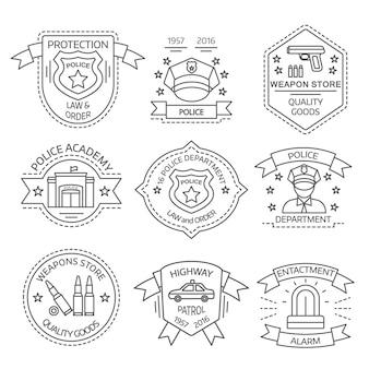Logo policji zestaw z ilustracją wektorową opisami alarmów akademii policji w sklepie z bronią