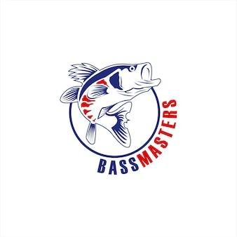 Logo połowów basu prosty okrągły emblemat