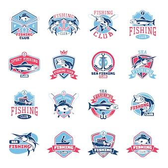 Logo połowów logotyp rybołówstwa z rybakiem w łodzi i godło z rybami łowionymi dla zestawu klubu rybackiego