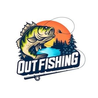 Logo połowów na białym tle