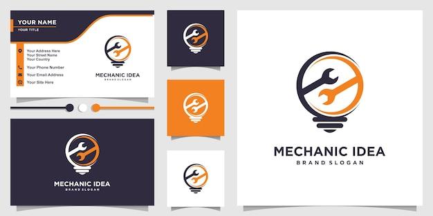 Logo pomysłu mechanika z kreatywną koncepcją i szablonem projektu wizytówek premium wektor