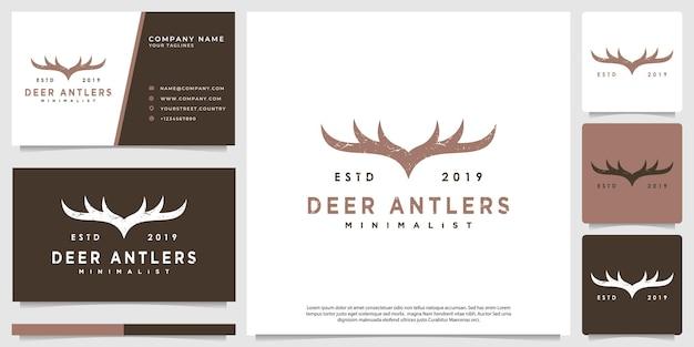 Logo poroża jelenia w stylu vintage